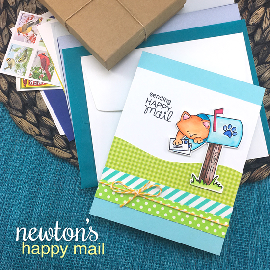 Happy Mail with Cat Card by Jennifer Jackson | Newton's Happy Mail stamp set by Newton's Nook Designs #newtonsnook