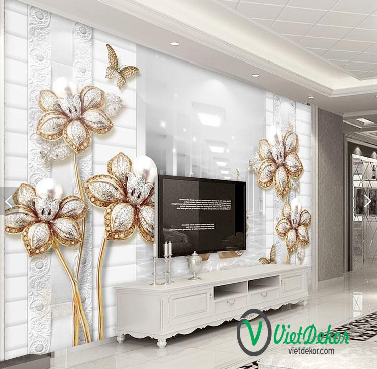 Tranh dán tường hoa 3d phòng ngủ đẹp
