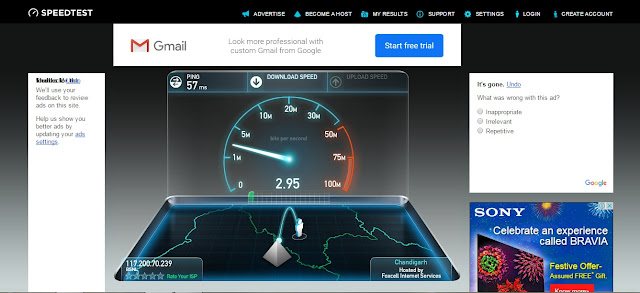 testing internet speed by ookla