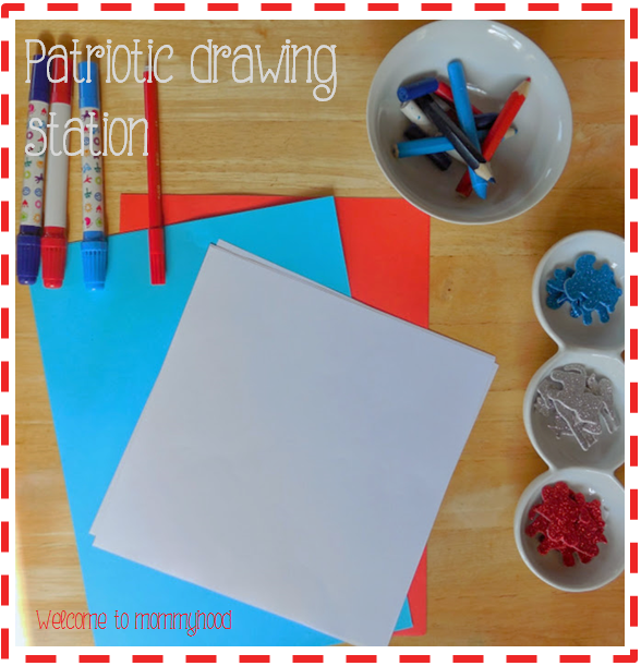 Memorial Day Activities: drawing station by Welcome to Mommyhood