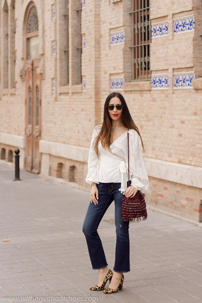 Blogger influencer instagram valencia lifestyle ideas look para combinar zapatos leopardo Mas34 jeans acampanados cortos tobilleros Meltin Pot