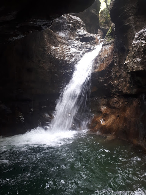 Canyoning waterfall of rio Nero in Valle di Ledro Valley Trentino
