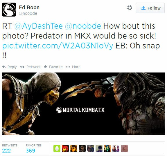 Castle Geek-Skull: What a Tease! Ed Boon ReTweets Mortal