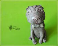 Perrito tipo caricatura para centro de torta, modelado en porcelana fría