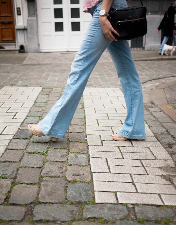 denim flares, platform sandals