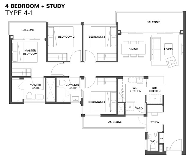 The Wisteria @ Yishun Floor Plan 4 Bedroom + Study