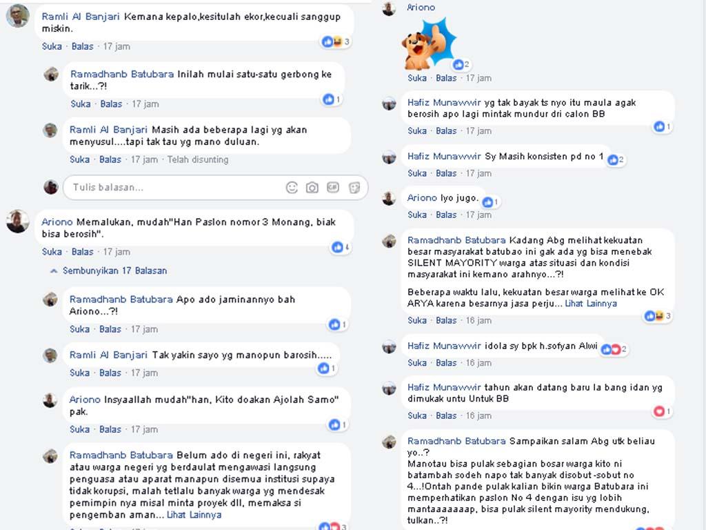 Komentar warga di facebook atas penangkapan Kadispenda Batubara.