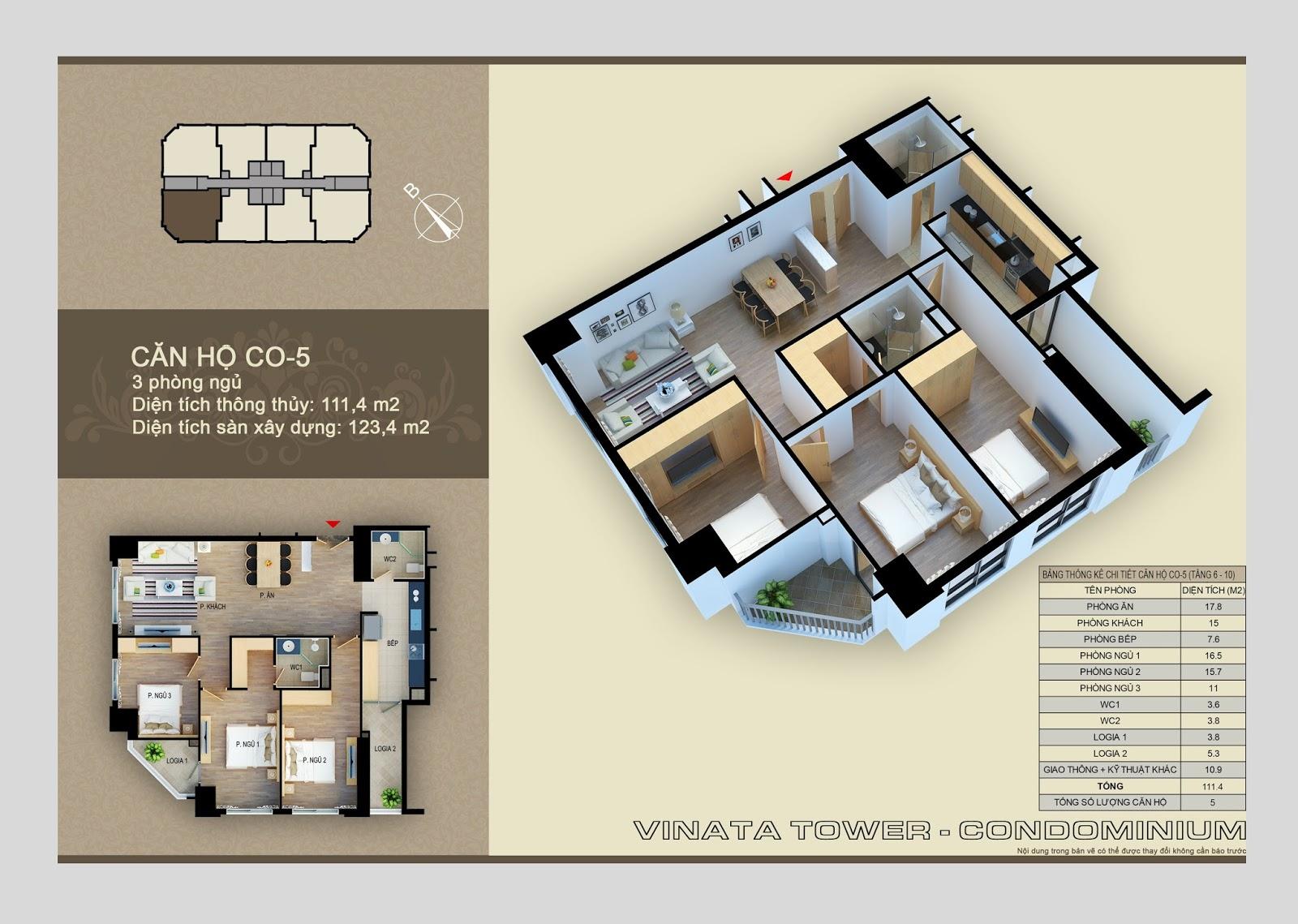 Căn hộ CO-05 dự án Vinata Tower