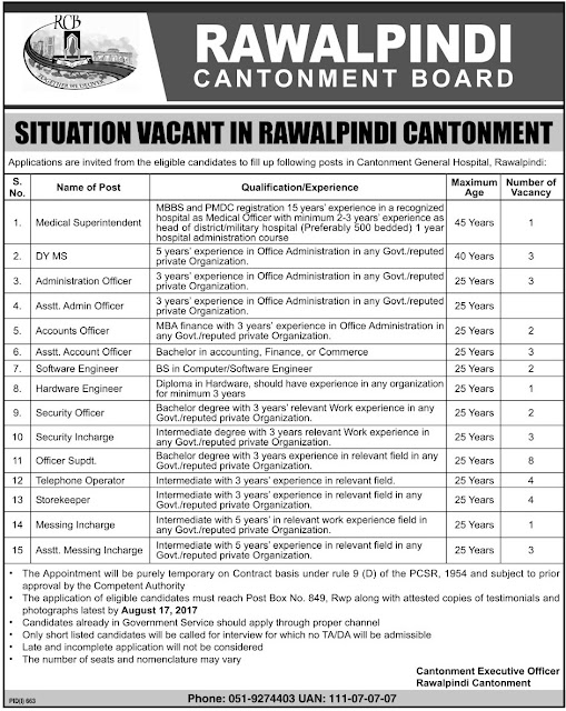 Government Jobs in Cantonment Board Rawalpindi 2017