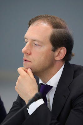 Industry and Trade Minister Denis Manturov prior to the meeting of the bureau of the Russian Engineering Union and the League for Assisting Defense Enterprises of Russia.