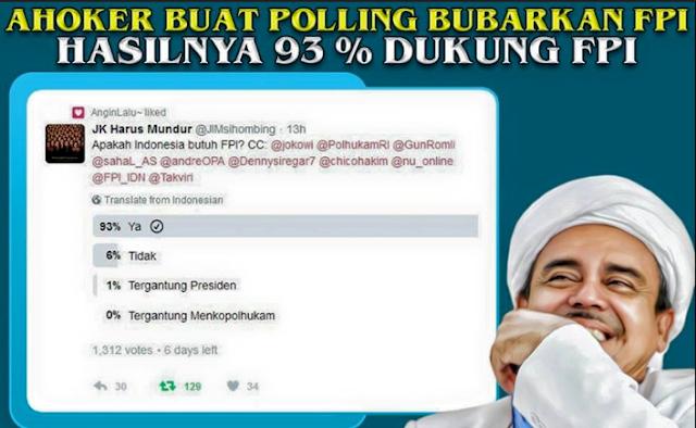 Ahoker Buat Polling Bubarkan FPI Hasilnya 93% Dukung FPI