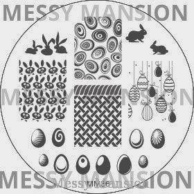 Lacquer Lockdown - Messy Mansion, stamping, new stamping plates 2014, new image plates 2014, new nail art plates 2014, pueen 2014, diy nails, nail art, cute nail art, easy nail art, indie plates, easter nails, easter nail art, bunnies, ornaments, easter eyes, grass patterns