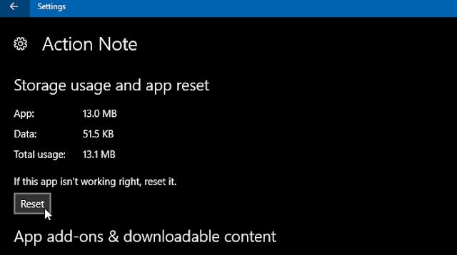 cara reset app windows 10