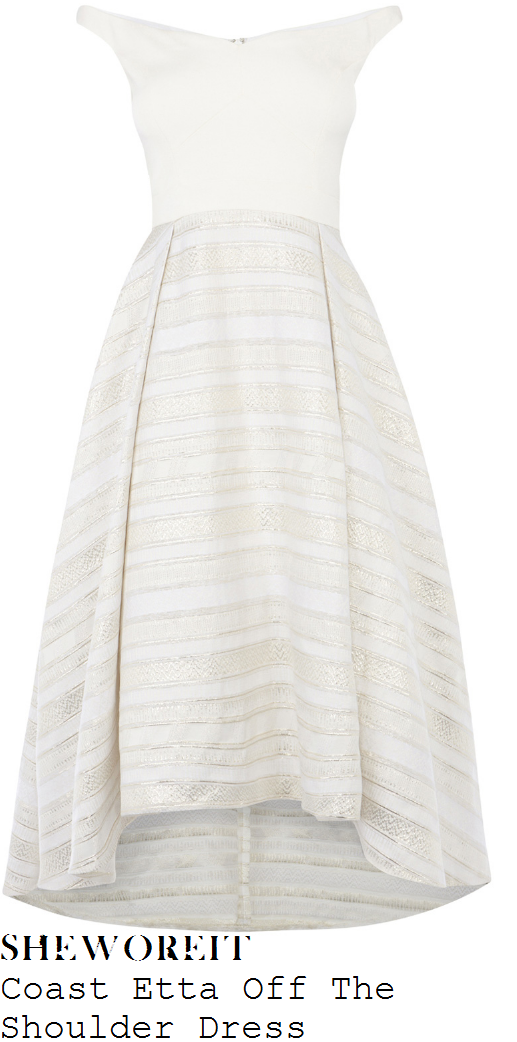 lydia-bright-coast-etta-white-silver-and-metallic-cream-horizontal-stripe-panel-detail-sleeveless-off-the-shoulder-curved-wide-neckline-high-waisted-pleated-full-skirt-asymmetric-prom-maxi-dress