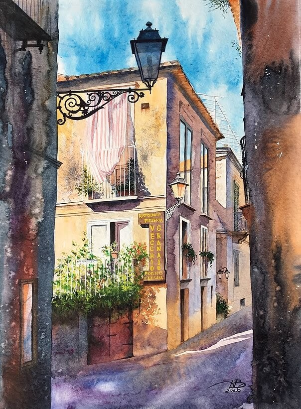 03-Side-Street-Igor-Dubovoy-A-Love-for-Travelling-and-Realistic-Watercolour-Paintings-www-designstack-co