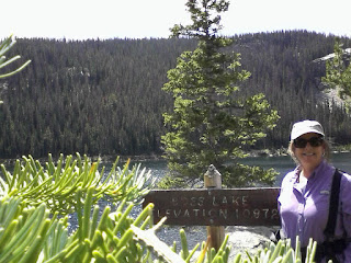 Beautiful sunny day at Boss Lake, circled by the forest. Elevation 10872