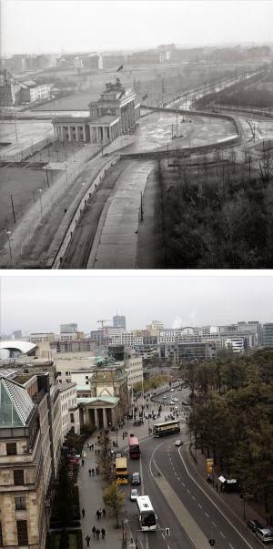 Puerta de Branderburgo antes y despues de la caida del muro de Berlin