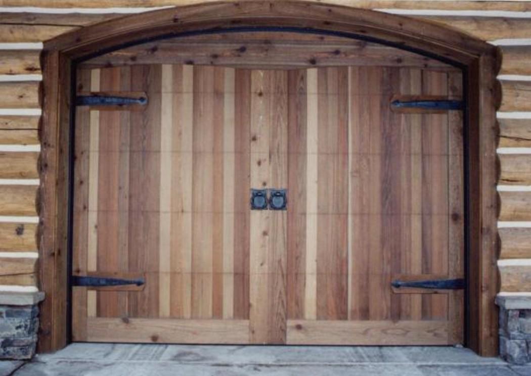 Garage Door Makeover using wooden