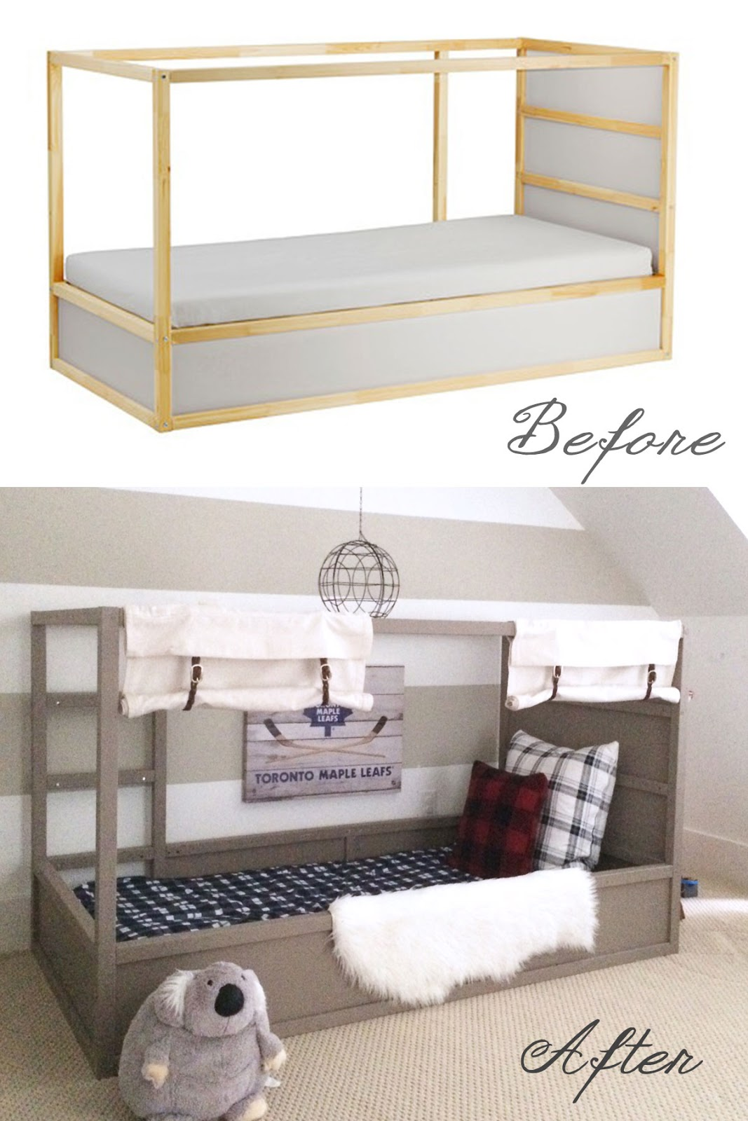 ikea kura bed hack option 2 with diy ball harlow thistle home design lifestyle diy. Black Bedroom Furniture Sets. Home Design Ideas