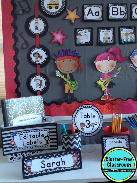 Are you planning a rock and roll themed classroom or thematic unit? This blog post provides great decoration tips and ideas for the best rock and roll theme yet! It has photos, ideas, supplies & printable classroom decor to will make set up easy and affordable. You can create an rock and roll theme on a budget!