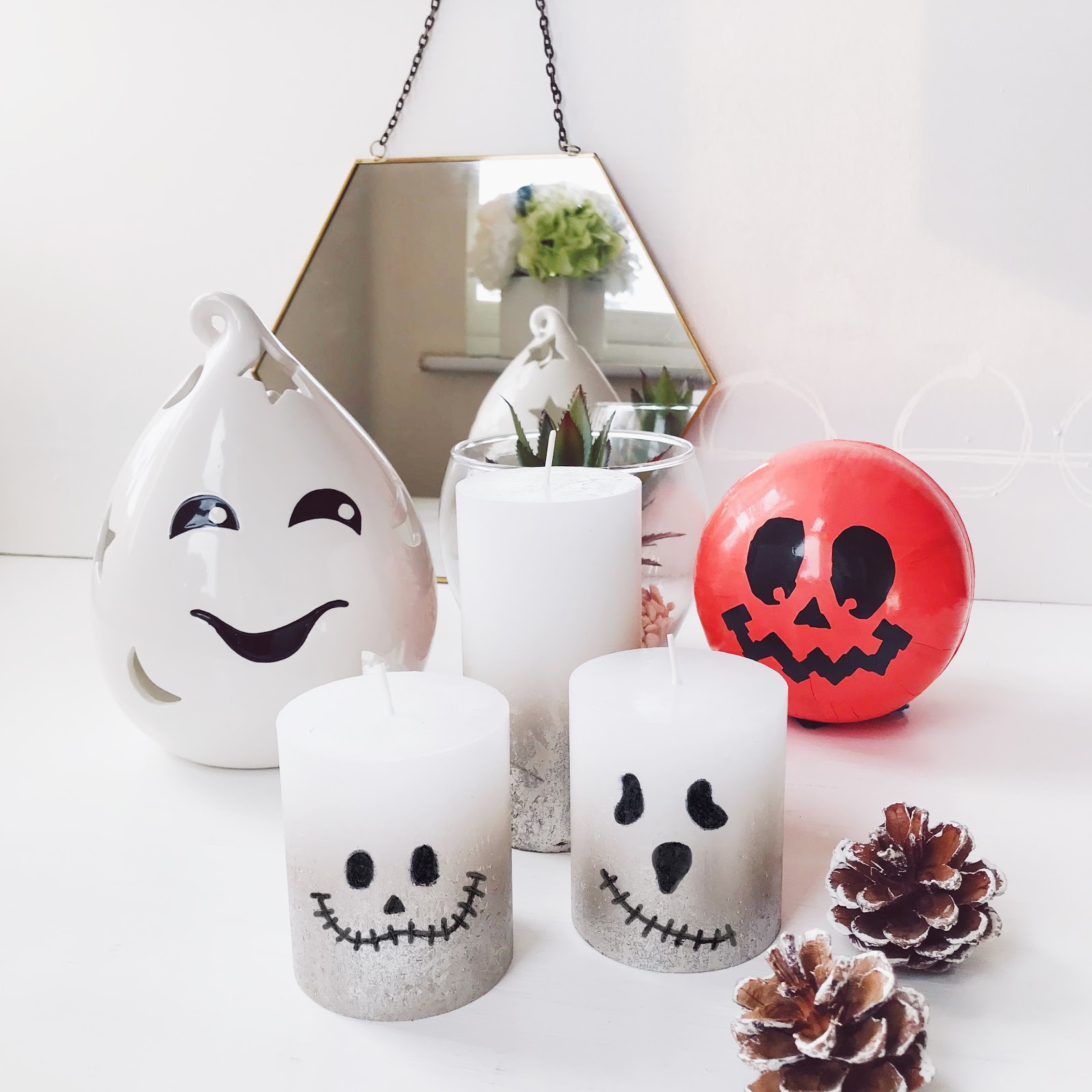 homemade halloween candles, ghost halloween candles