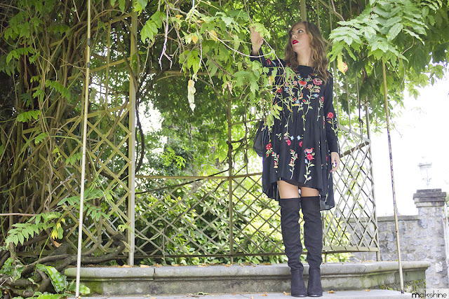 Floral embroidered dres