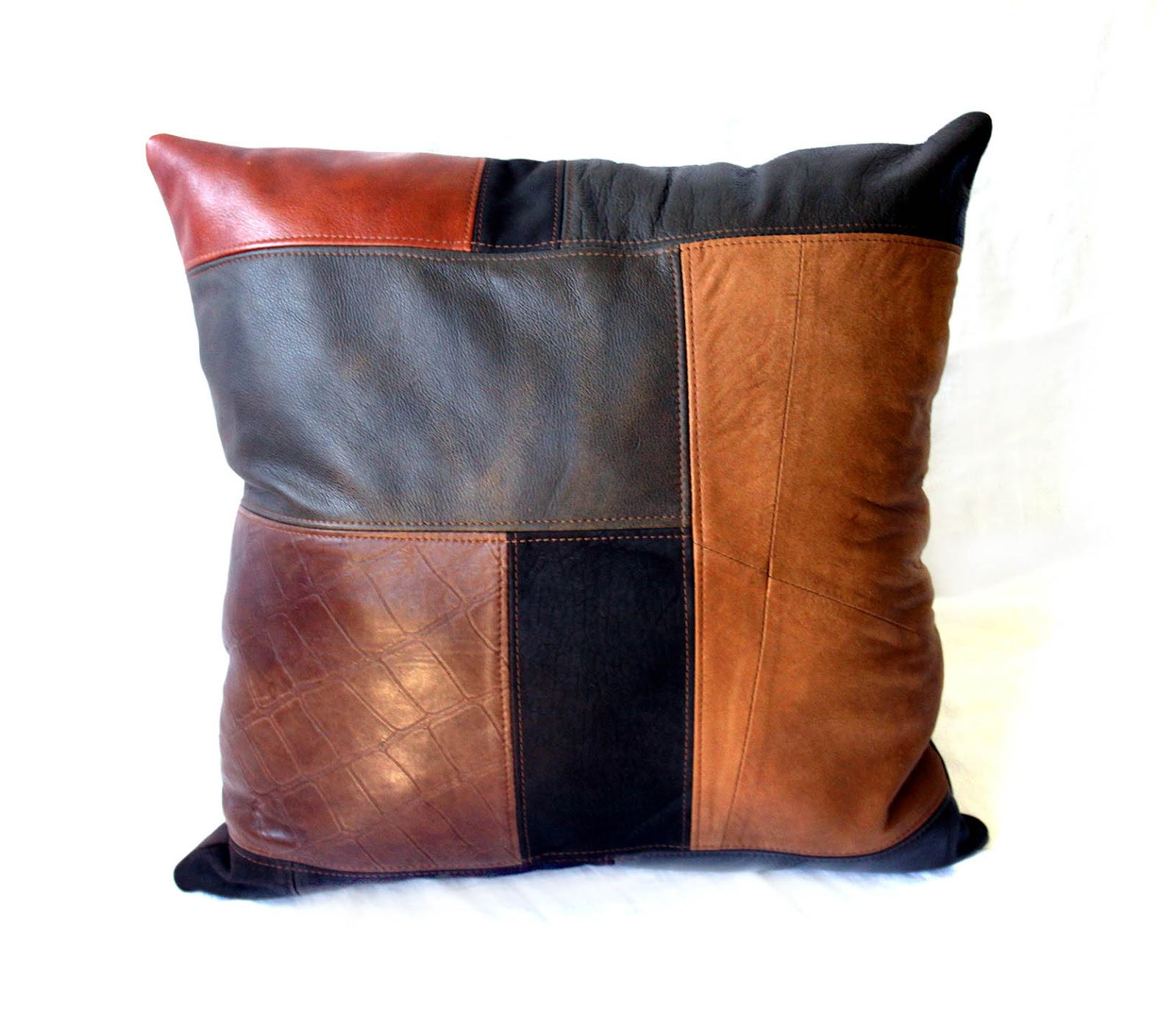 Harley Davidson New Orleans >> Uptown Redesigns: Upcycled Leather Patchwork Pillows