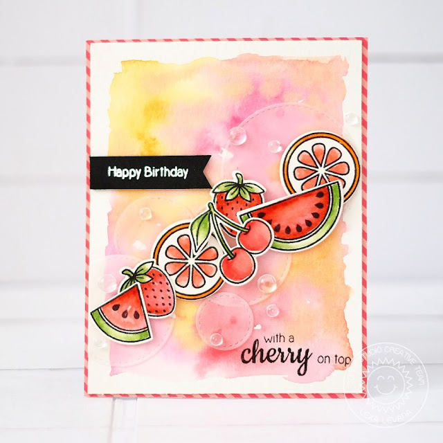 Sunny Studio Stamps: Fresh & Fruity Fruit Birthday Card by Lexa Levana.