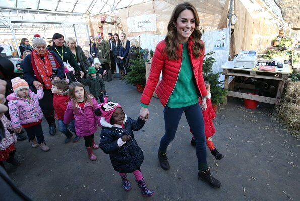 Kate Middleton wore Perfect Moment mini duvet ski jacket. Peterley Manor Farm to take part in Christmas activities