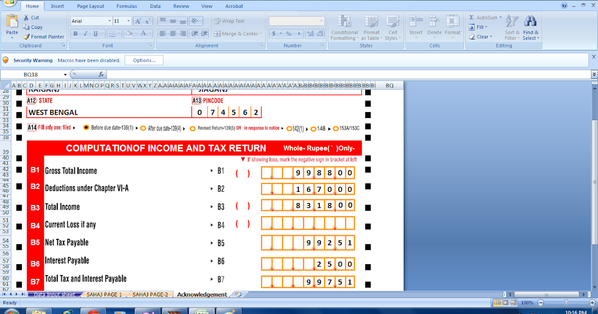 ITR-1 SAHAJ auto fill in excel for assessment year 2013-14 ...