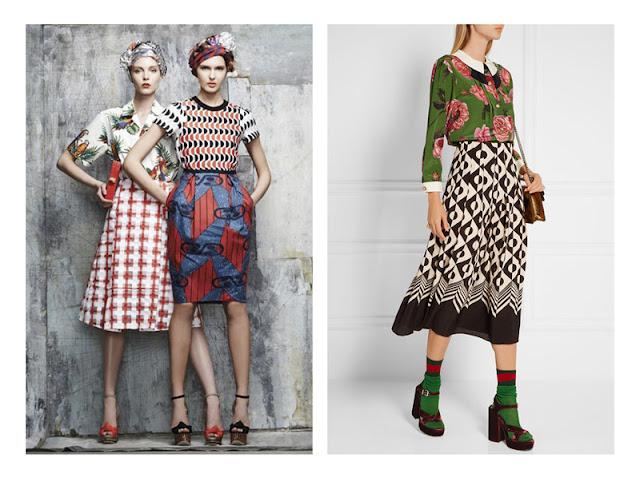 Сочетание юбки и топа с геометрическими и растительными принтами