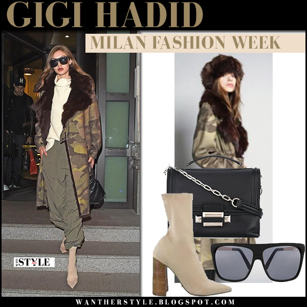 Gigi Hadid in green camo fur lined parka mr mrs italy, green trousers and beige ankle boots tony bianco diddy what she wore milan fashion week