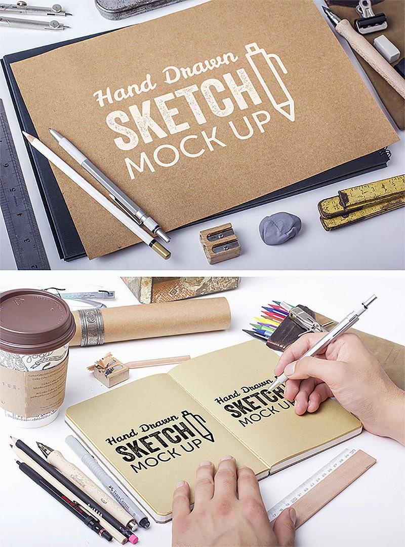 Hand Drawn Sketch Mockups PSD