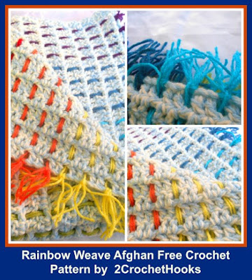 http://2crochethooks.com/rainbow-weave-baby-afghan-free-crochet-pattern/
