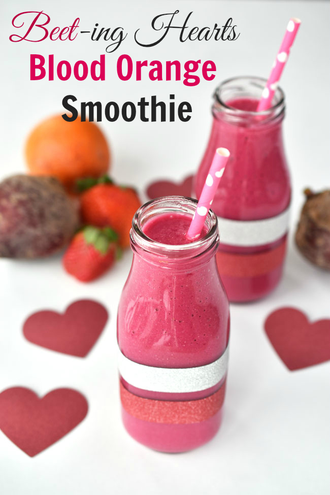 "If your Valentine is still full on with his or her new year's health kick, this Beet-ing Hearts Blood Orange Smoothie is a great option for saying ""I care."" It's delicious, smooth, creamy and a bit sweet, while containing health-protective ingredients like beets, blood orange, strawberries, chia seeds and coconut oil."