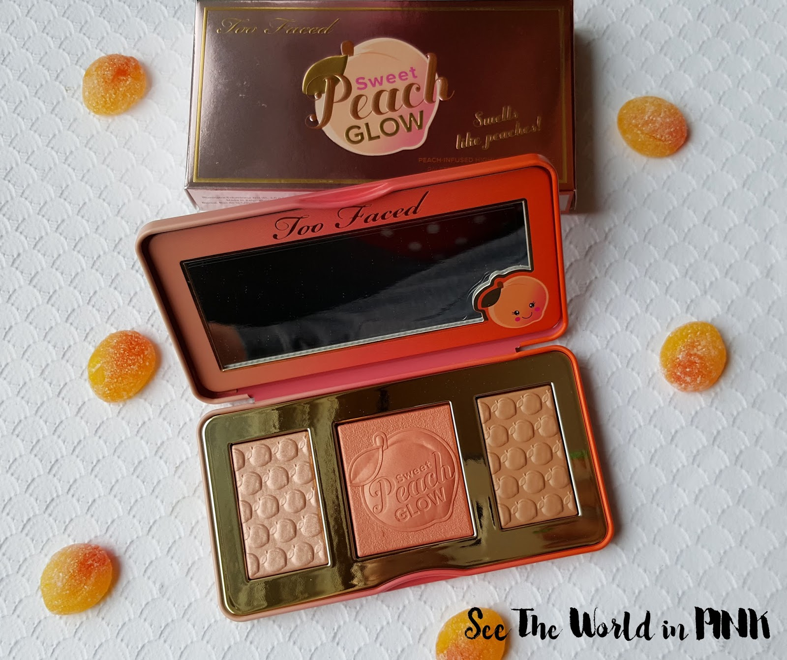 Too Faced Sweet Peach Glow Peach-Infused Highlighting Palette - Swatches and Review!