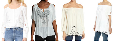 One of these off the shoulder tops is from SUNO for $395 and the other three are under $50. Can you guess which one is the designer top? Click the links below to see if you are correct!
