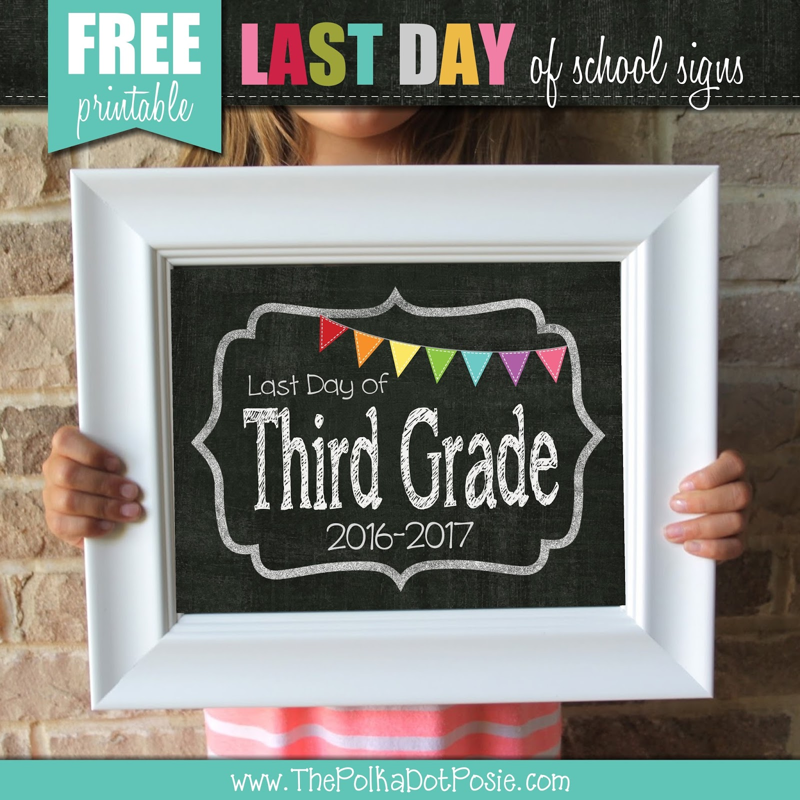 graphic relating to Free Printable Back to School Signs called The Polka Dot Posie: Free of charge Printable Past Working day of College Indicators!