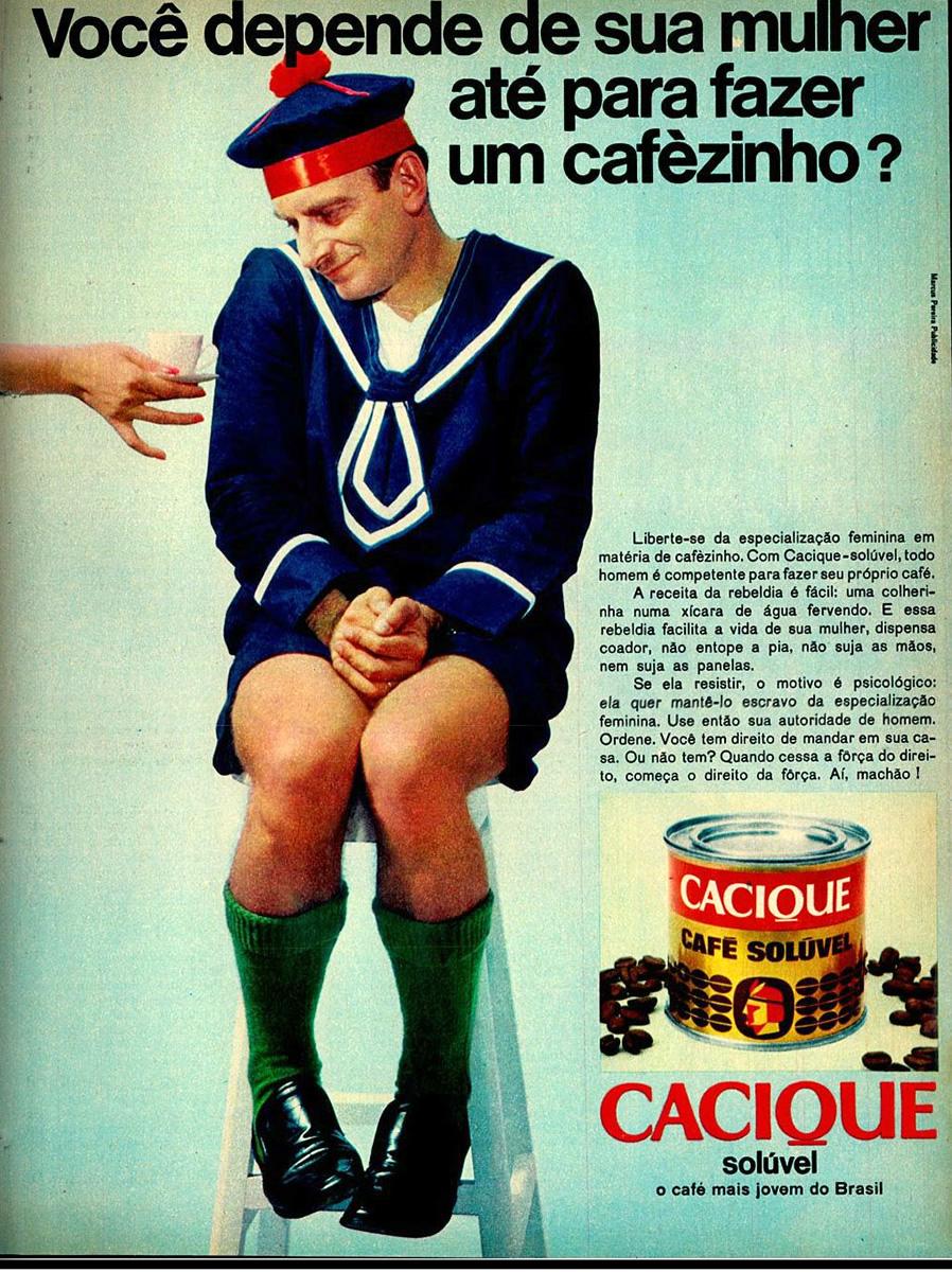 Campanha do Café Cacique que apontava liberdade aos homens para fazer um café