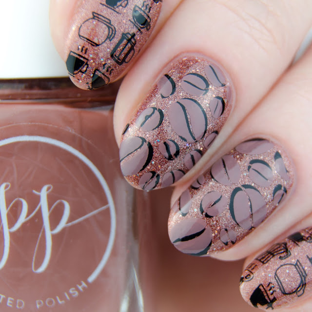 "Painted Polish ""Stamped in Mocha"" stamping swatch"