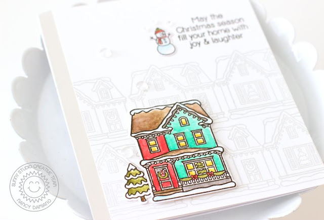 Sunny Studio Stamps: Christmas Home Subtlety Stamped Background Christmas Card by Nancy Damiano