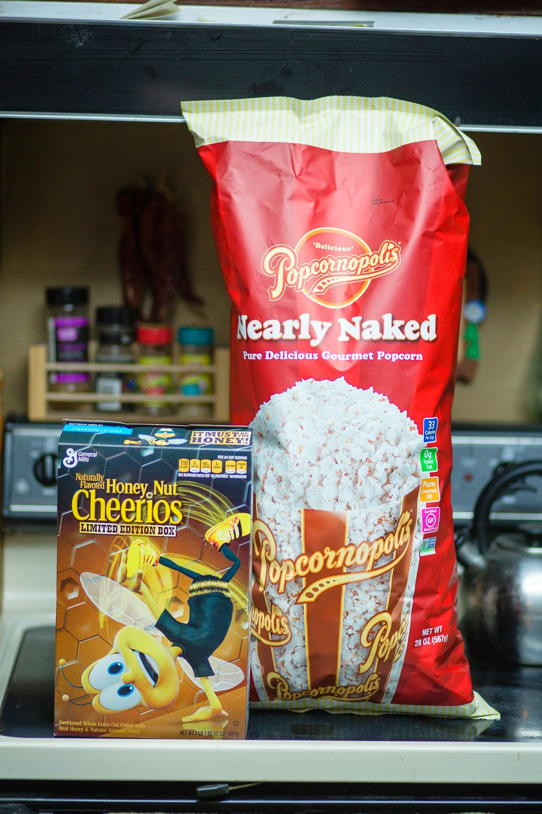 The Popcornopolis Nearly Popcorn Is Back At Costco And It S Ger That One Huge Bag Of Giant Honey Nut Cheerios Box For Scale