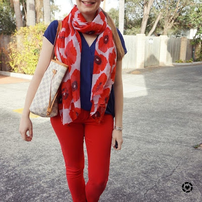 awayfromblue instagram | red poppy print scarf navy wrap top and skinny jeans lv neverfull SAHM outfit