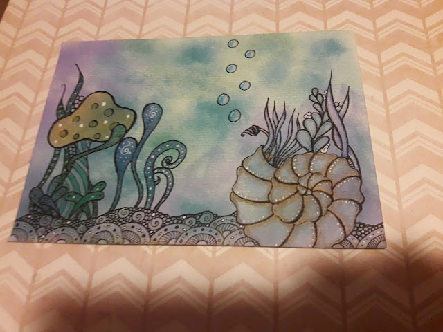 Under the sea zentangle Zia Finished