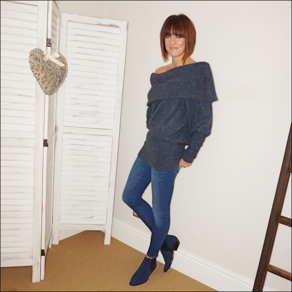 my midlife fashion, acne studios off the shoulder jumper, j crew 8 inch toothpick jeans, marks and spencer western heel ankle boots