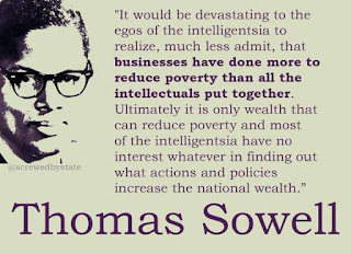 """It would be devastating to the egos of the intelligentsia to realize, much less admit, that businesses have done more to reduce poverty than all the intellectuals put together. Ultimately it is only wealth that can reduce poverty and most of the intelligentsia have no interest whatever in finding out what actions and policies increase the national wealth.  They certainly don't feel any ""obligation"" to learn economics, out of a sense of ""social responsibility,"" much less because of any ""social contract"" requiring them to know what they are talking about before spouting off with self-righteous rhetoric."" – Thomas Sowell, http://www.jewishworldreview.com/cols/sowell051105.asp"