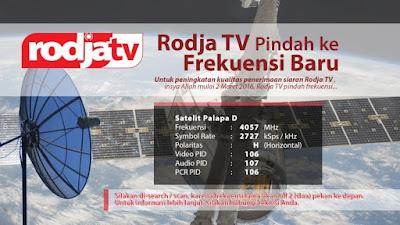 Frekwensi Baru Rodja TV di Satelit Palapa D