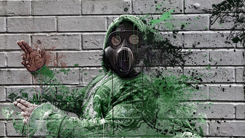 Graffiti with a Guy with Gas Mask HD