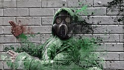 Graffiti with a Guy with Gas Mask