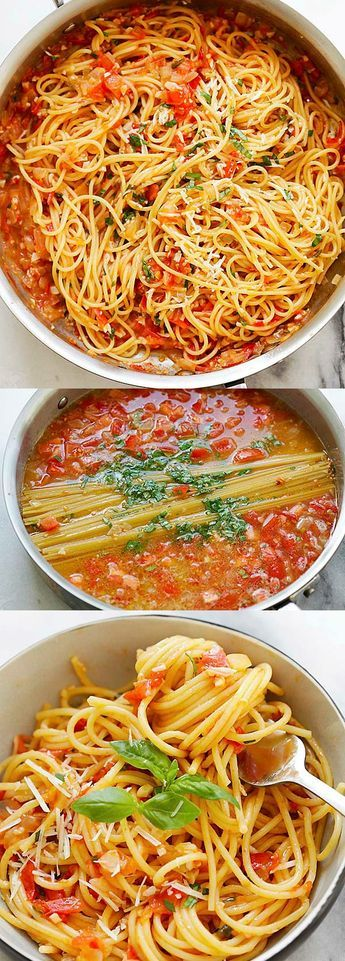 Quick and easy one-pan pasta recipe that takes 20 minutes to make. Throw all the ingredients in the pan and dinner is ready for the entire family!